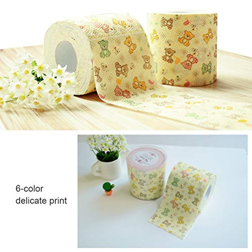 Wiivilik Abbaubare Toilettenpapier-Karikatur-Bär Toilettenpapier Zellstoff Papiertücher Toilettenpapier