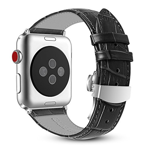 Fintie Leather Band for Apple Watch 44mm 42mm, Replacement Wrist Bands with Adjustable Butterfly Buckle Compatible with Apple Watch Series 5 Series 4 Series 3 Series 2 Series 1 - Black