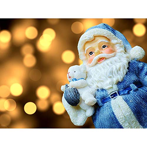 Diamond Painting Kits for Adults 5D DIY Full Round Drill Crystal Rhinestone Embroidery Arts Craft Wall Decor Cute Santa Claus in Blue 15.7x11.8 in by Jestang