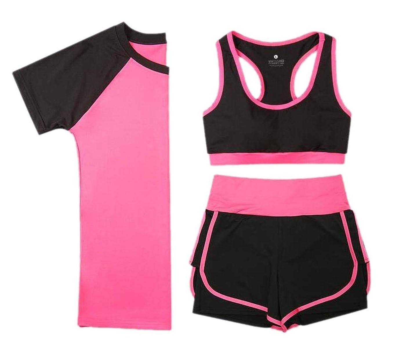 縮約閲覧する兄Women Sports Crop Tank Top + Short Sleeve T-Shirt + High Waist Shorts Set
