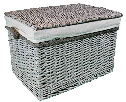 cestas grandes de mimbre y ratán. Forro lavable. Elegante solución de almacenamiento. Gris, Grey lined 65 ltr