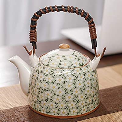 Oavand Japanese Cherry Blossoms Ceramic Teapot with Infuser 30 OZ (900ml) for 3-4 Cups, Tea Pots for Loose Leaf Tea & Blooming Tea, Large Porcelain Teapot for Women Gift, Green Floral Tea Pot