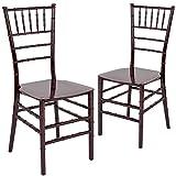 Flash Furniture 2 Pk. HERCULES Series Mahogany Resin Stacking Chiavari Chair