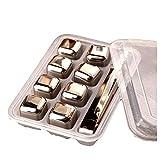 MAODU Cubitos de Hielo Reutilizable Set - 8 Cubos Refrigeración Acero de Calidad | Piedras Whisky, Cocteleria Mini Bar Accesorios - Idea Caja de Regalo Padre Mujer Hombre Cumpleaño 8 pcs