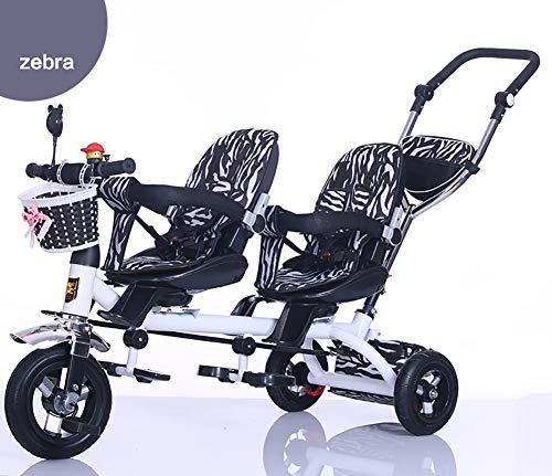 GHDE& Kinder Dreirad, Kindersitz Fahrrad mit Pedalsperre und Silent Wheels Früher Twin Kinderwagen Fit von 18 Monaten bis 6 Jahren,2