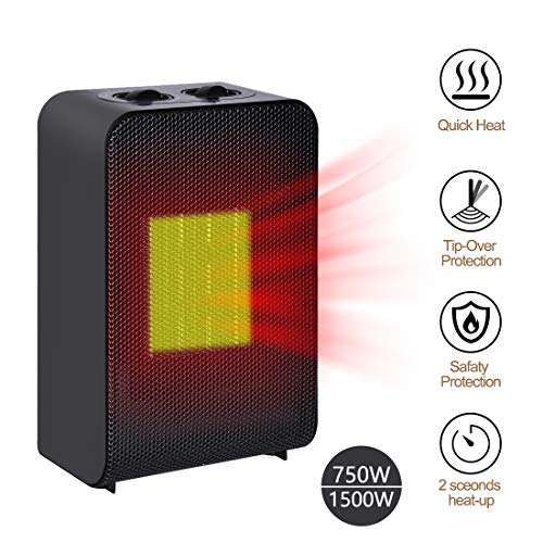 Space Heaters for Home, Electric Heaters Portable with Features of Auto Shut Off & Auto-Oscillating, Protection of Tip-Over & Overheat, Small Heaters Perfect for Room And Office, 750W/1500W Electric heaters Space