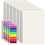 EOOUT Graph Paper Notebook 6 Pack - A5 Graph Spiral Notebooks 5.5'x 8.5', Total 960 Pages, 100GSM, with 4pcs Page Markers for Work School Journals