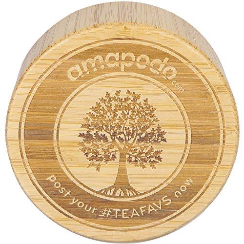 Bambusdeckel Zusatz Ersatzdeckel Verschluss - Passt für amapodo Teekanne Trinkflasche Teeflasche aus Glas mit 400ml