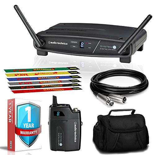 Audio-Technica ATW-1101 System 10 Digital Wireless Receiver and Pocket Transmitter with Case, Extra Warranty, and More
