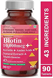 Carbamide Forte Biotin 10,000mcg with Keratin, Bamboo Extract, Amino Acids, Natural Extracts & Multivitamins for Women & Men | Total 43 Ingredients Supplement for Fast Hair Growth – 90 Veg Tablets