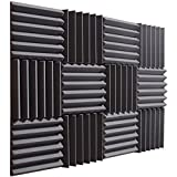Pro Studio Acoustics - Charcoal - 12'x12'x2' Acoustic Wedge Foam Absorption Soundproofing Tiles - 12 Pack