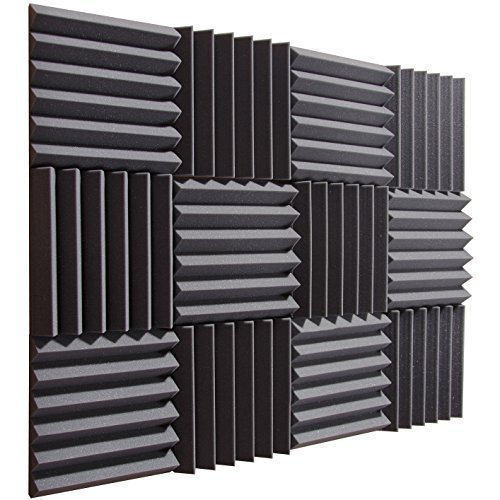 "Pro Studio Acoustics - Charcoal - 12""x12""x2"" Acoustic Wedge Foam Absorption Soundproofing Tiles - 12 Pack"