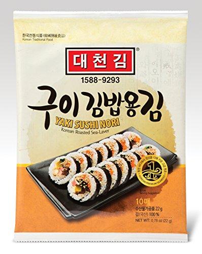 DAECHUN LAVER Sushi Nori, Mer grillée (10 feuilles complètes) Teneur en argent sac 22g