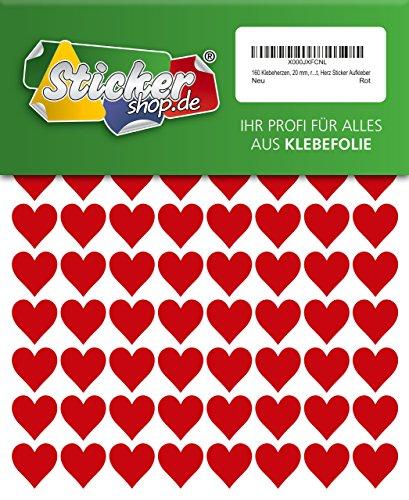 160 Klebeherzen, 20 mm, rot, aus PVC Folie, wetterfest, Herz Sticker Aufkleber