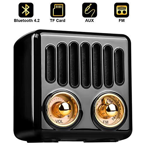 Qoosea Tragbares Radio Bluetooth Lautsprecher Handgefertigter Stereo Bluetooth 4.2 Mini Lautsprecher mit Super Bass Subwoofer mit FM Radio Schwarz