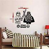 Gran Star Wars Lego Luke Skywalker/Darth Vader Dormitorio Pared Arte Pegatina Calcomanía 68 * 75Cm