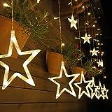 Salcar 2m x 1m Luces de Cortina de Estrella LED, 138 LEDs USB 5v Luces de Cadena Estrelladas, Guirnaldas luminosas de Navidad, Luz de Cortina con Control Remoto - Blanco cálido