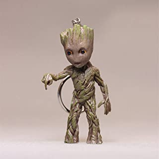 JSV-anime Tree Man Baby Groot Action Figures Doll Guardians of The Galaxy 2 Cute Model Toy Keychain Cool Best Gifts (Push The Button)