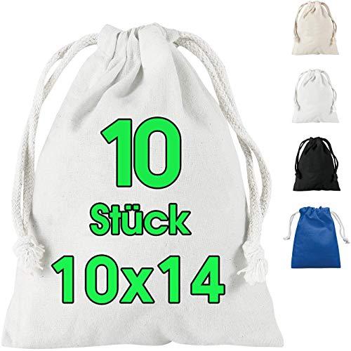 ELES VIDA 10 Stück Beutel Klein Stoffbeutel 10x14 cm Set zum Bemalen - Mini Tasche Beutel Geldsack - Geschenktüten - Geburtstagstüten für Kindergeburtstag DIY Gemüsebeutel für Hochzeit Party in Weiss