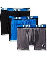 PUMA Men's 3-Pack Cotton Boxer Briefs, Blue/Black, Large