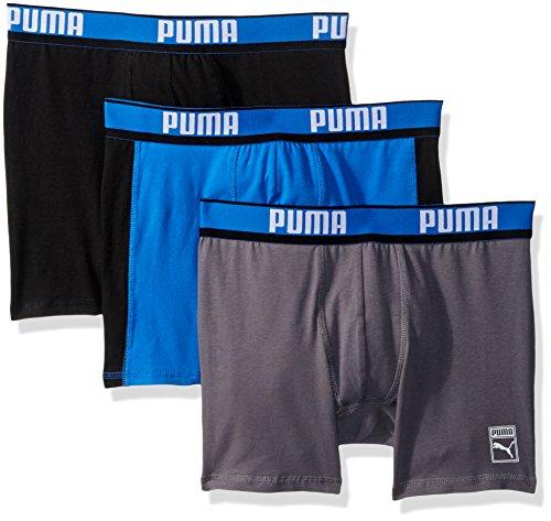 PUMA Men#039s 3Pack Cotton Boxer Briefs Blue/Black/Grey Medium