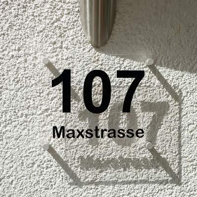 Hausnummern Türschild Acrylglas Transparent
