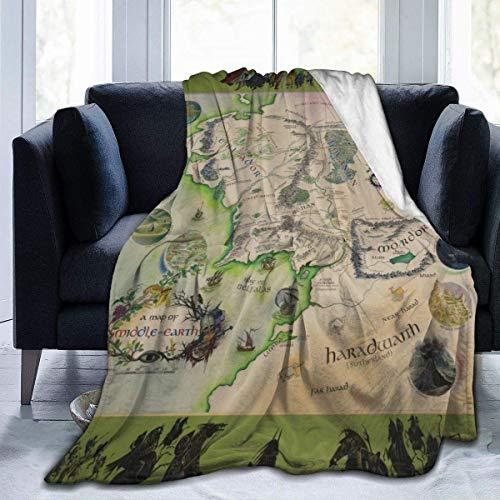 Crayo Eine Karte der Mittelerde-Decke Ultraweiche,Dicke Microplush-Bettdecke Die ganze Saison über Mikrofaser-Flanell-Fleece-Decke für die Sofa-Couch