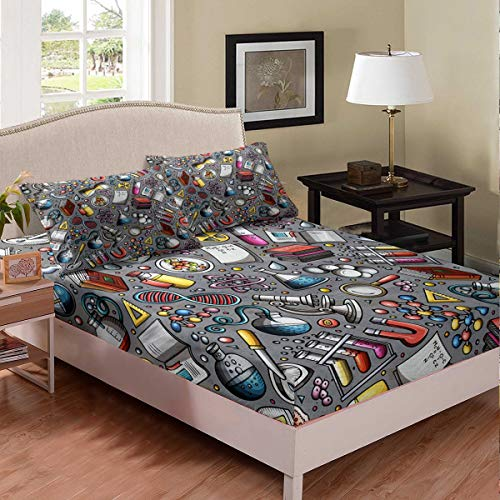 Laboratory Bedding Set Chemistry Lab Bed Cover For Kids Teen Boys Young Man Test Tube Microscope School Graffiti Fitted Sheet Chemical Elements Science Theme Bedclothes 2Pcs Twin Size Gray