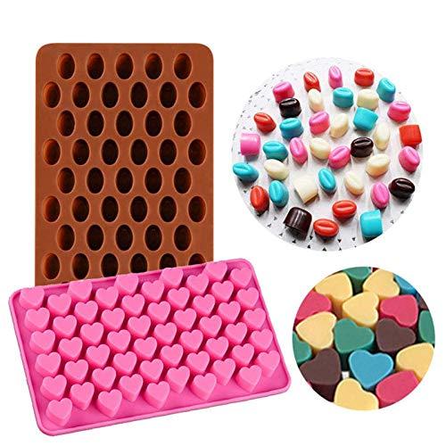 KBstore 2 Pièces Moule à Chocolat - Forme de Coeur et Haricot Moules en Silicone pour Bonbon/Glace/Mini Savon Gelée #3