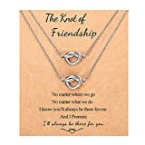 Best Friend Necklaces Gifts for 2 Forever Love Knot Infinity Friendship Necklace Jewelry Bridesmaid Birthday Gifts for 2 Teen Girls Women Best Friend Sisters
