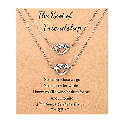 Best Friend Necklaces for 2 Forever Love Knot Infinity Friendship Necklace Jewelry Bridesmaid Birthday Gifts for 2 Teen Girls Women Best Friend Sisters
