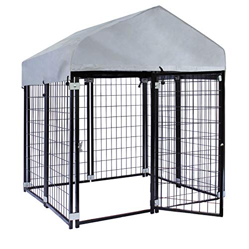 Wiltec Hundezwinger mit Überdachung, 121x121x137cm, Hundehütte mit Sonnendach, Outdoor Hundehaus aus Stahl