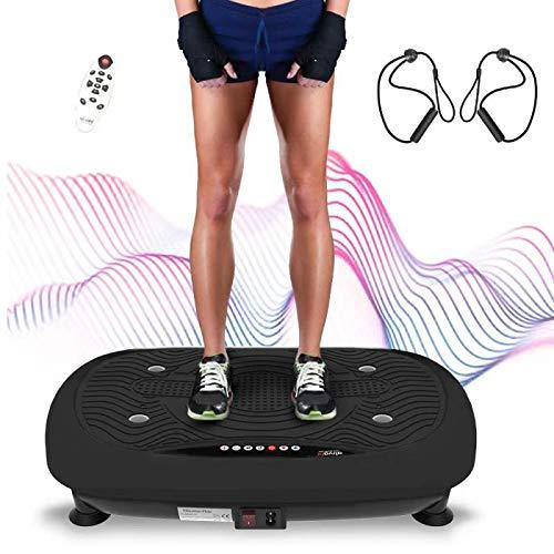 ATIVAFIT Fitness con Piattaforma Vibrante Pedana Vibrante per Allenamento Intelligente Fitness, Allenamento Ampia Area Antiscivolo, Schermo LCD e Telecomando 2 Fascia Elastica (Nero)