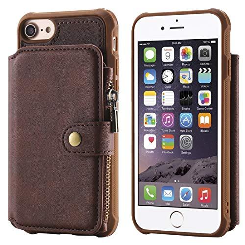 Funda para teléfono móvil, para iPhone 6 con cierre a prueba de golpes, con ranuras para tarjetas, soporte y soporte para fotos y función de cartera hangma (color: café)