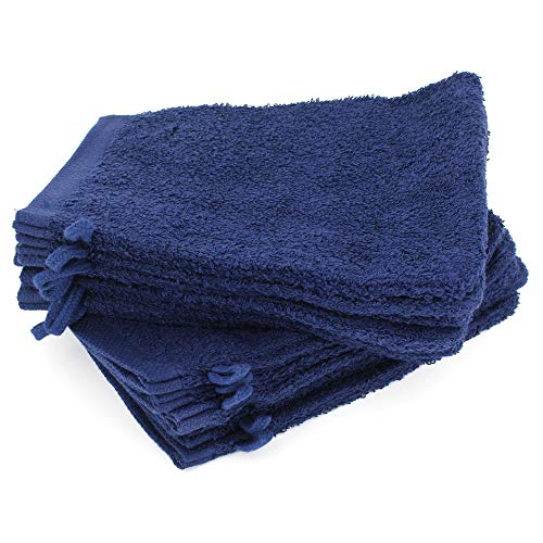 Lot de 12 Gants de Toilette 16x21 cm Alpha Bleu Marine