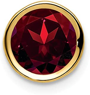 14k Yellow Gold 7mm Red Garnet Bezel Pendant Charm Necklace Slide Chain Gemstone Fine Jewelry Gifts For Women For Her