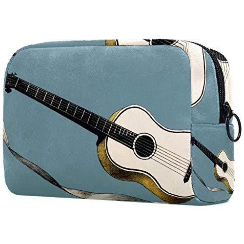 Bolsa de cosméticos de viaje Caja de almacenamiento de cosméticos, fondo de guitarra