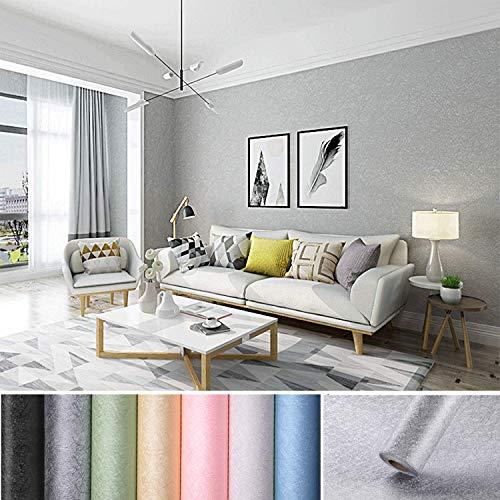 KINLO Selbstklebend Tapete wasserfest Wandtapete mit Seidenfaden Muster 61 x 500cm Wandaufkleber Klebefolie für Wohnzimmer TV Hintergrund Wand (Grau)