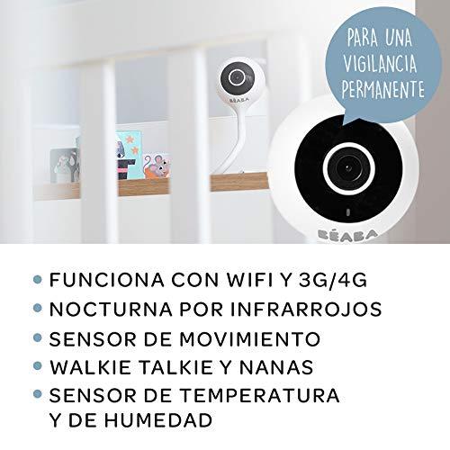 BÉABA Vigilabebés Zen Connect, Inalámbrico con Cámara Full HD 1090p, Vídeo, Walkie-Talkie y Gran Alcance, Conexión Móvil y Wifi, Varilla flexible, Blanco