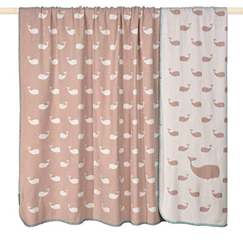 pad - Whale - deken/babydeken - materiaalmix - roze/wit - 75 x 100 cm