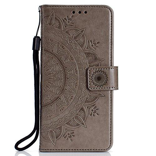 Lomogo OnePlus 6 Hülle Leder, Schutzhülle Brieftasche mit Kartenfach Klappbar Magnetverschluss Stoßfest Kratzfest Handyhülle Case für OnePlus6 - LOHHA11086 Grau