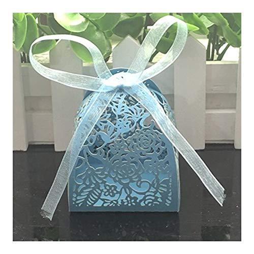 Favores y regalos de la fiesta de cumpleaños decoración de la boda 10pcs boda caja del caramelo de la boda de la caja de regalo for los huéspedes Presents ( Color : Blue , Gift Box Size : 5x5x7cm )