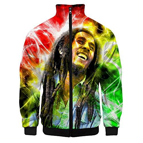 Bob Marley Pullover Manga de la Camiseta del Todo-fósforo Largo Pullover Thinner Chaquetas Abrigos Suave y Transpirable Hoodies del Ocio Outwear Unisex Unisex (Color : A01, Size : L)