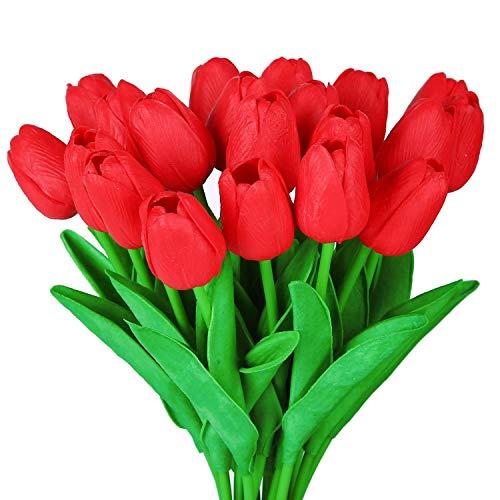 Flores Artificiales, Ramo de Plantas Falsas, tulipán, Toque Real, Ramo de Novia para Bodas, para el hogar, jardín, Fiesta, decoración Floral, 10 Piezas (Rojo)