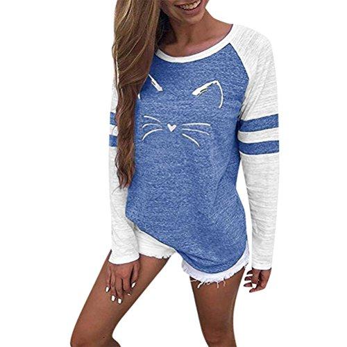 MORCHAN Femmes Dames Chat Impression T-Shirt à Manches Longues Tops Blouse(Bleu,FR-36/CN-S)