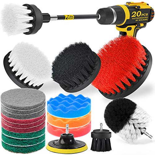 Holikme 20Piece Drill Brush Attachments Set, White Scrub Pads & Sponge , Power Scrubber Brush with Extend Long Attachment All Purpose Clean for Grout, Tiles, Sinks, Bathtub, Bathroom, Kitchen & Auto