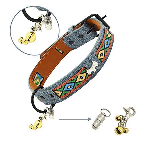 Collar para Perro, Collar de Piel Suave para Perro, Collar de Mascota Ajustable para Perro pequeño Perro Mediano Perro Grande (3 cm Ancho, 44cm-54cm)