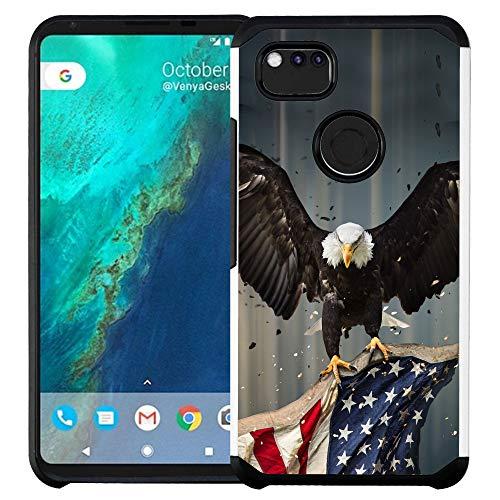 Google Pixel 3 XL Hülle, doppellagig, stoßfest, American Bald Eagle Flying with Flag