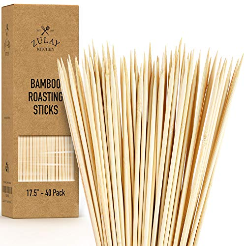 """Zulay 40 Pack Bamboo Wooden Skewers - 17.5"""" Marshmallow Roasting Sticks & Barbeque Skewers for Campfire - Authentic Bamboo Sticks & Smores Sticks for Grilling Hotdogs, Kabobs, BBQ, & More"""