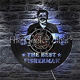 LIMN The Best Fisherman Reloj de Pared con Disco de Vinilo Diseño Moderno Iluminación Decorativa Hombre de Pesca Lámpara de Noche LED para Regalo de Pescadores Lámparas de Pared LED para Interiores